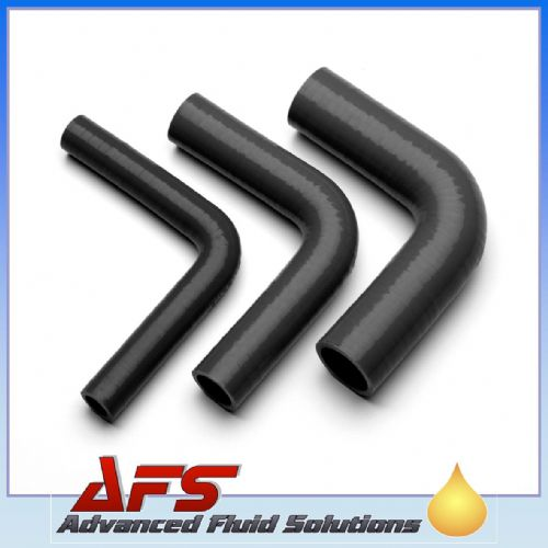 "90mm (3 1/2"") BLACK 90° Degree SILICONE ELBOW HOSE PIPE"
